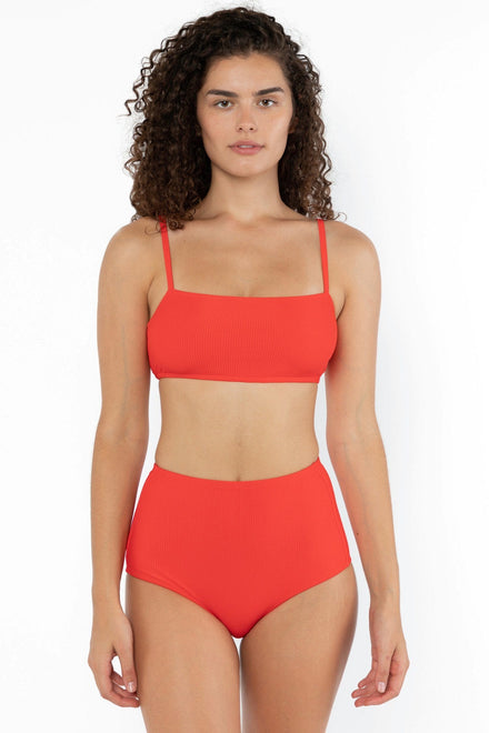 RRS075 - The Ribbed Minimalist Crop Swim Top