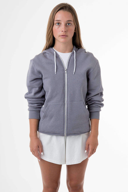 F97 Unisex - Flex Fleece Zip Up Hoodie Sweatshirt Los Angeles Apparel Slate XS
