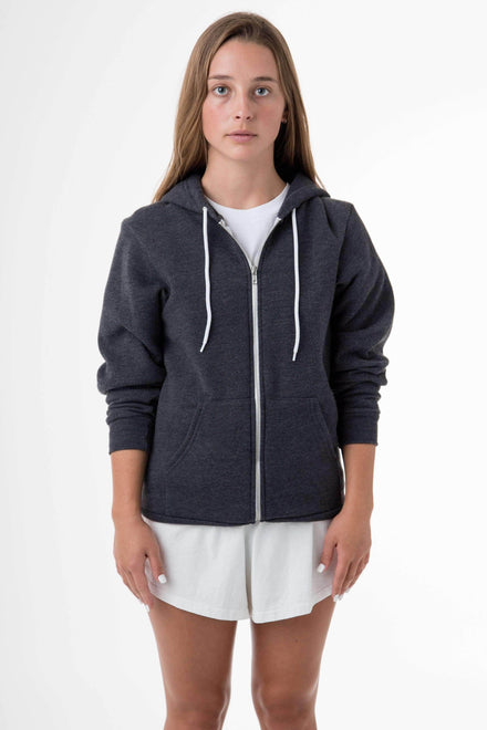 F97 Unisex - Flex Fleece Zip Up Hoodie Sweatshirt Los Angeles Apparel Dark Heather Grey XS