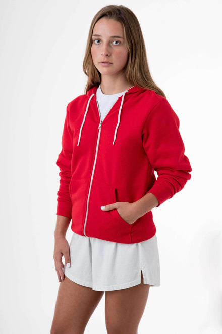F97 Unisex - Flex Fleece Zip Up Hoodie Sweatshirt Los Angeles Apparel Red XS
