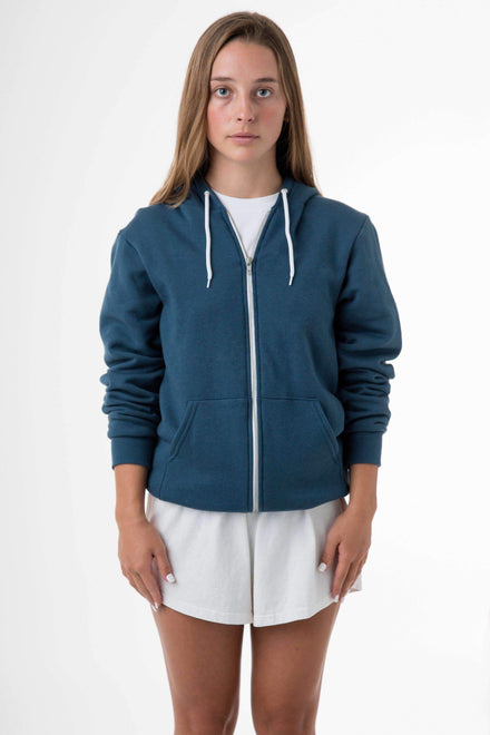 F97 Unisex - Flex Fleece Zip Up Hoodie Sweatshirt Los Angeles Apparel Sea Blue XS