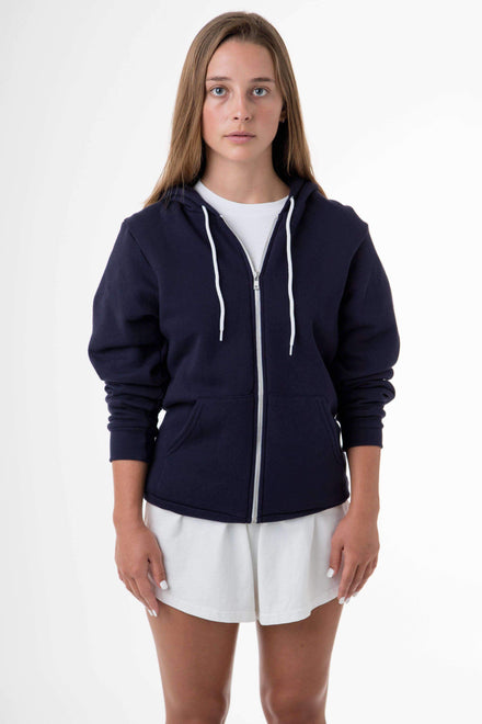 F97 Unisex - Flex Fleece Zip Up Hoodie Sweatshirt Los Angeles Apparel Navy XS