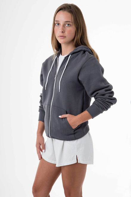 F97 Unisex - Flex Fleece Zip Up Hoodie Sweatshirt Los Angeles Apparel Asphalt XS