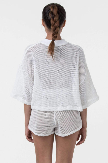 RIN331 - Cotton Fishnet Crop Top T-Shirt Los Angeles Apparel