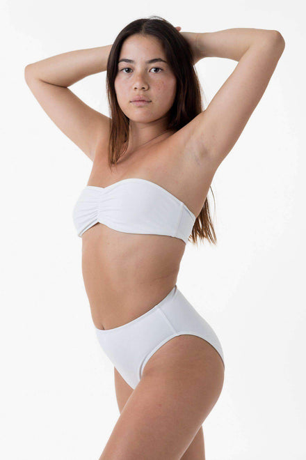 RNT3007 - Ruched Tube Bikini Bra Los Angeles Apparel Matte White XS