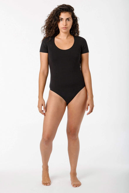 B115CFS - Short Sleeve Bodysuit Bodysuits Los Angeles Apparel Black XS