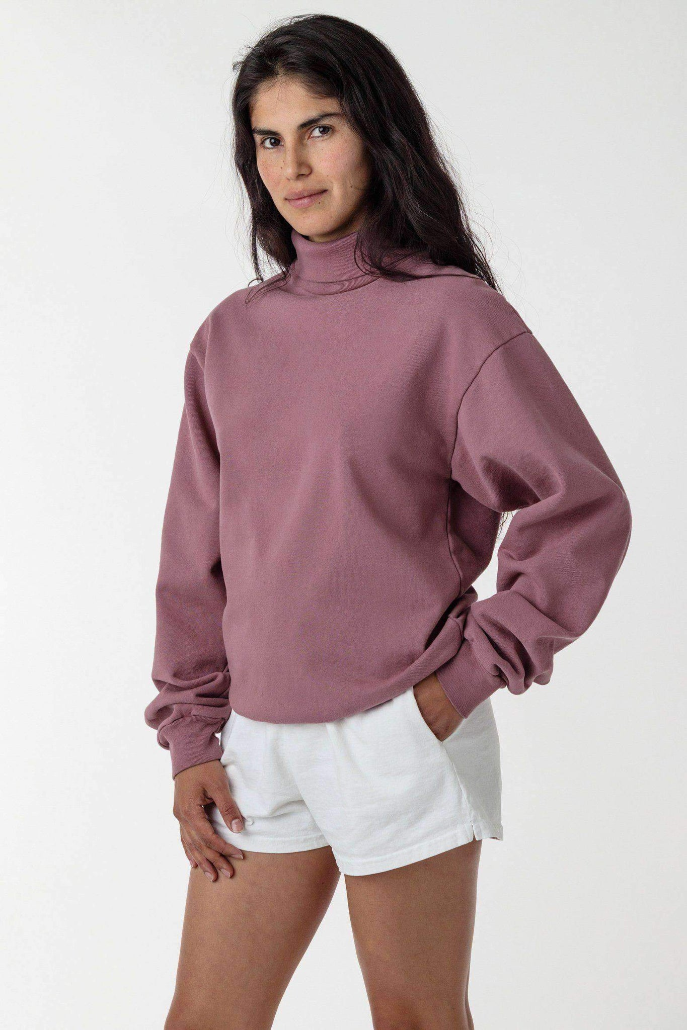 HF13GD Unisex - 14 oz Heavy Fleece Turtleneck Sweatshirt Sweatshirt Los Angeles Apparel Mauve XS