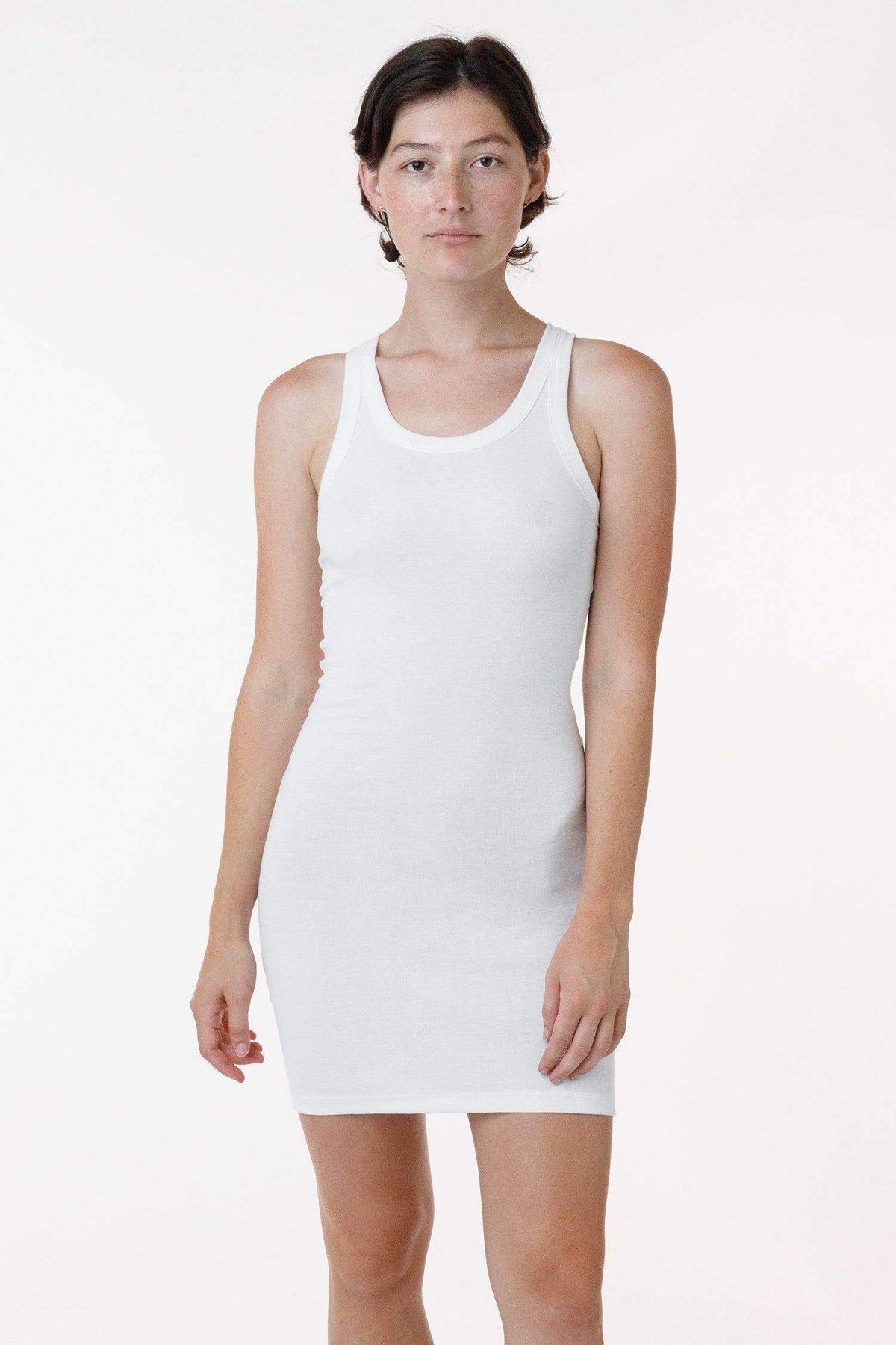 43286 - Baby Rib Mini Tank Dress Dress Los Angeles Apparel White S