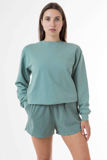 MWT07GD Unisex - Long Sleeve Garment Dye French Terry Pullover Sweatshirt Los Angeles Apparel Atlantic Green XS