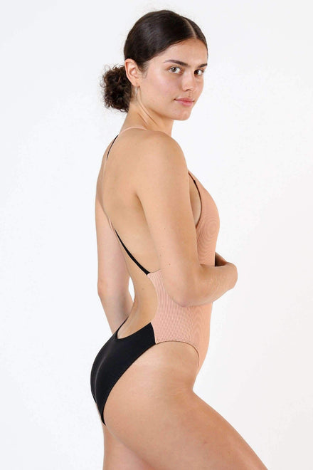 RRS102 - Ribbed Contrast Crossback One Piece Swim Los Angeles Apparel