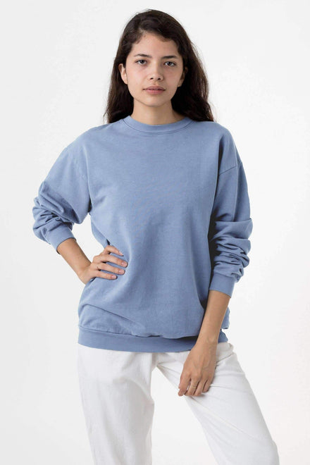 MWT07GD Unisex - Long Sleeve Garment Dye French Terry Pullover Sweatshirt Los Angeles Apparel Clear Blue XS