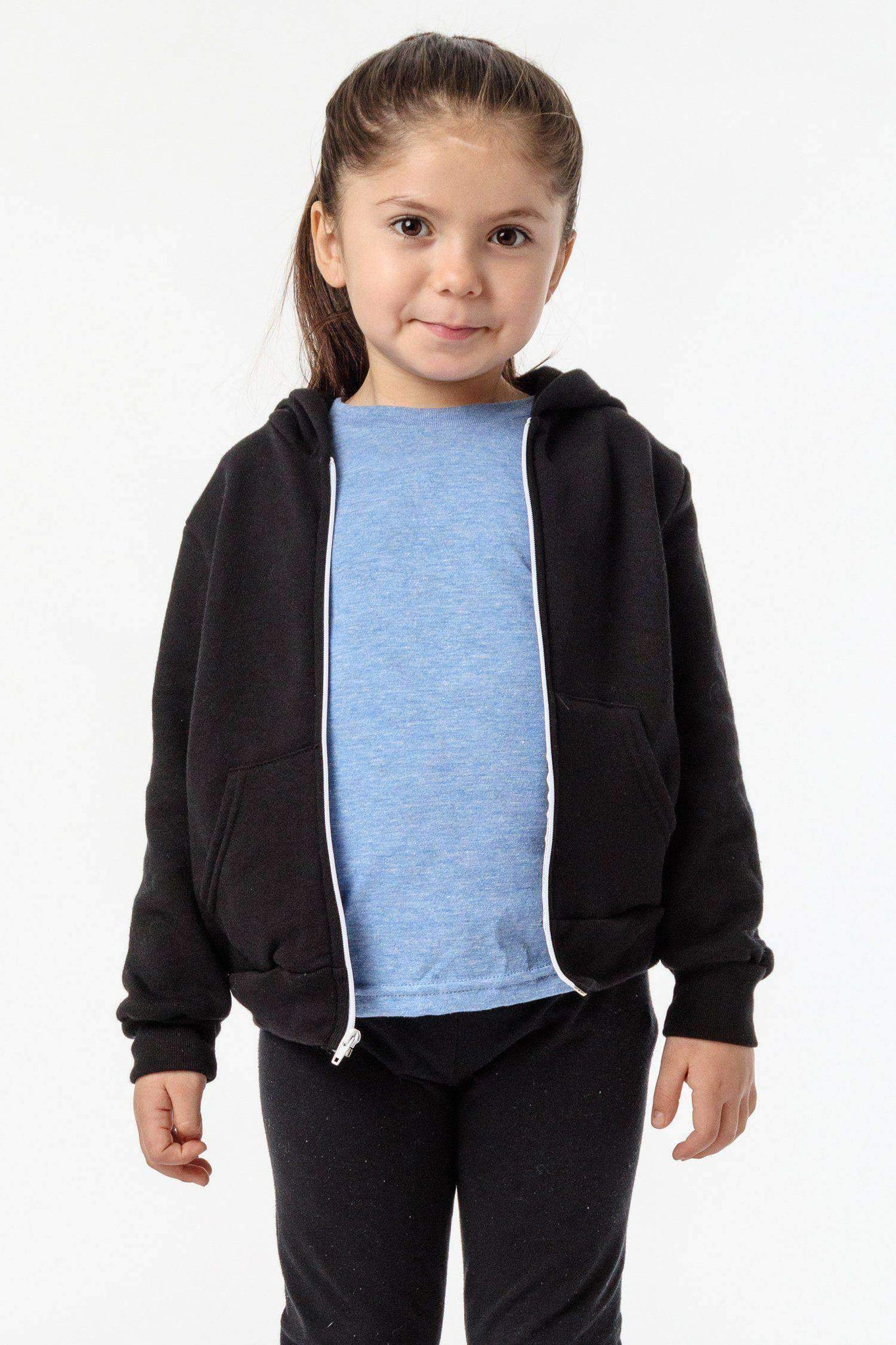 F1097 - Toddler Poly Cotton Zip Hoodie Kids Los Angeles Apparel Black 2
