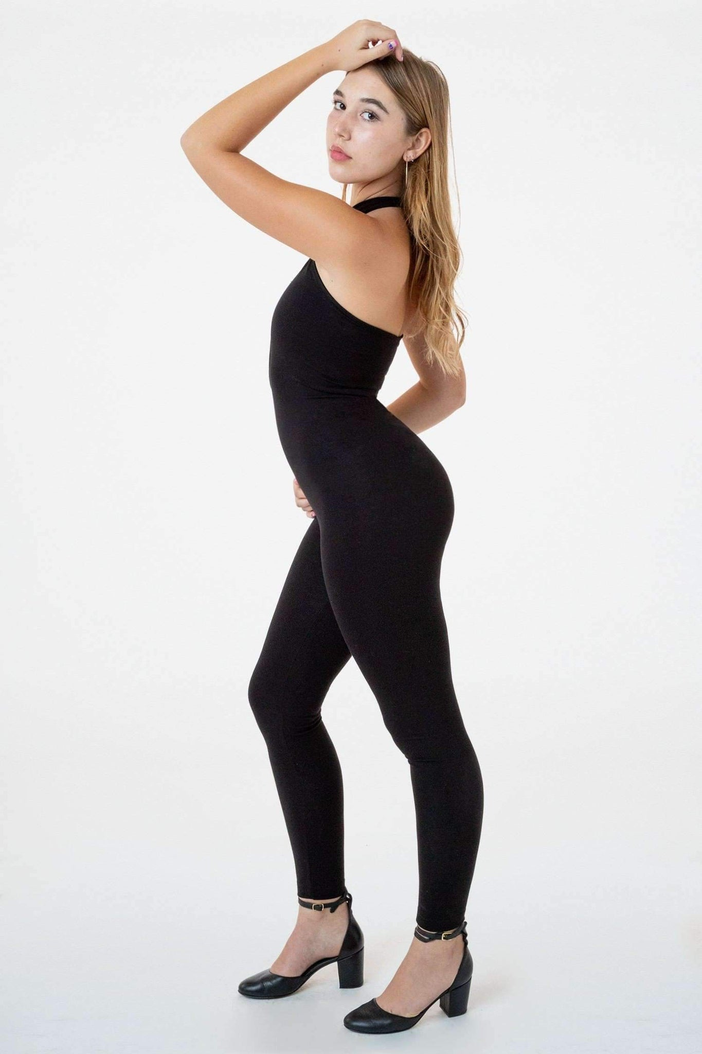 PON405 - Ponte Crossfront Halter Unitard unitard Los Angeles Apparel