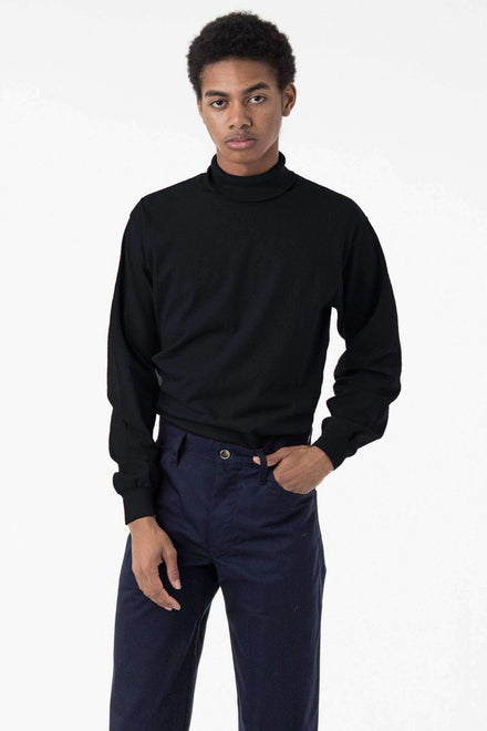 1811GD Unisex - Long Sleeve Garment Dye Turtleneck T-Shirt Los Angeles Apparel Black XS