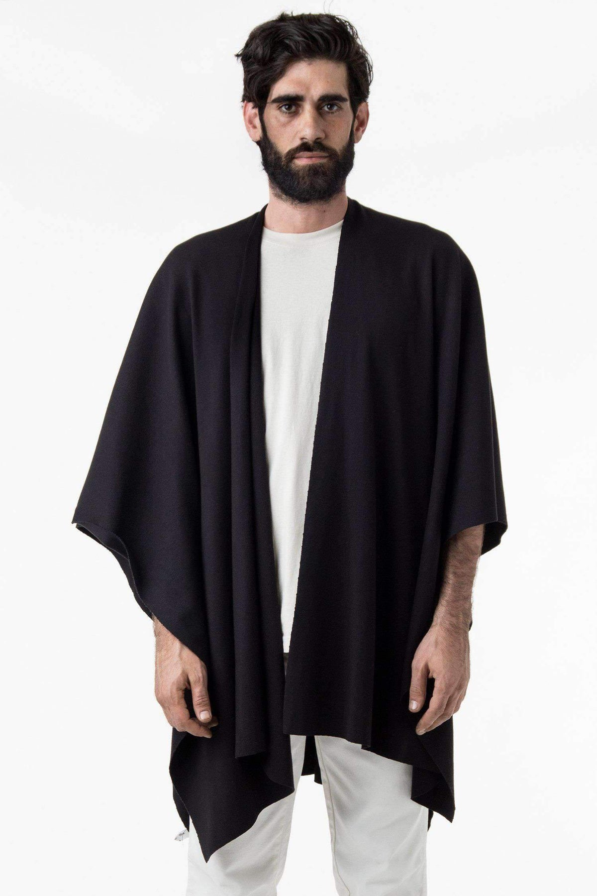 RHFR399GD - Heavy Cotton Rib Poncho Poncho Los Angeles Apparel Black