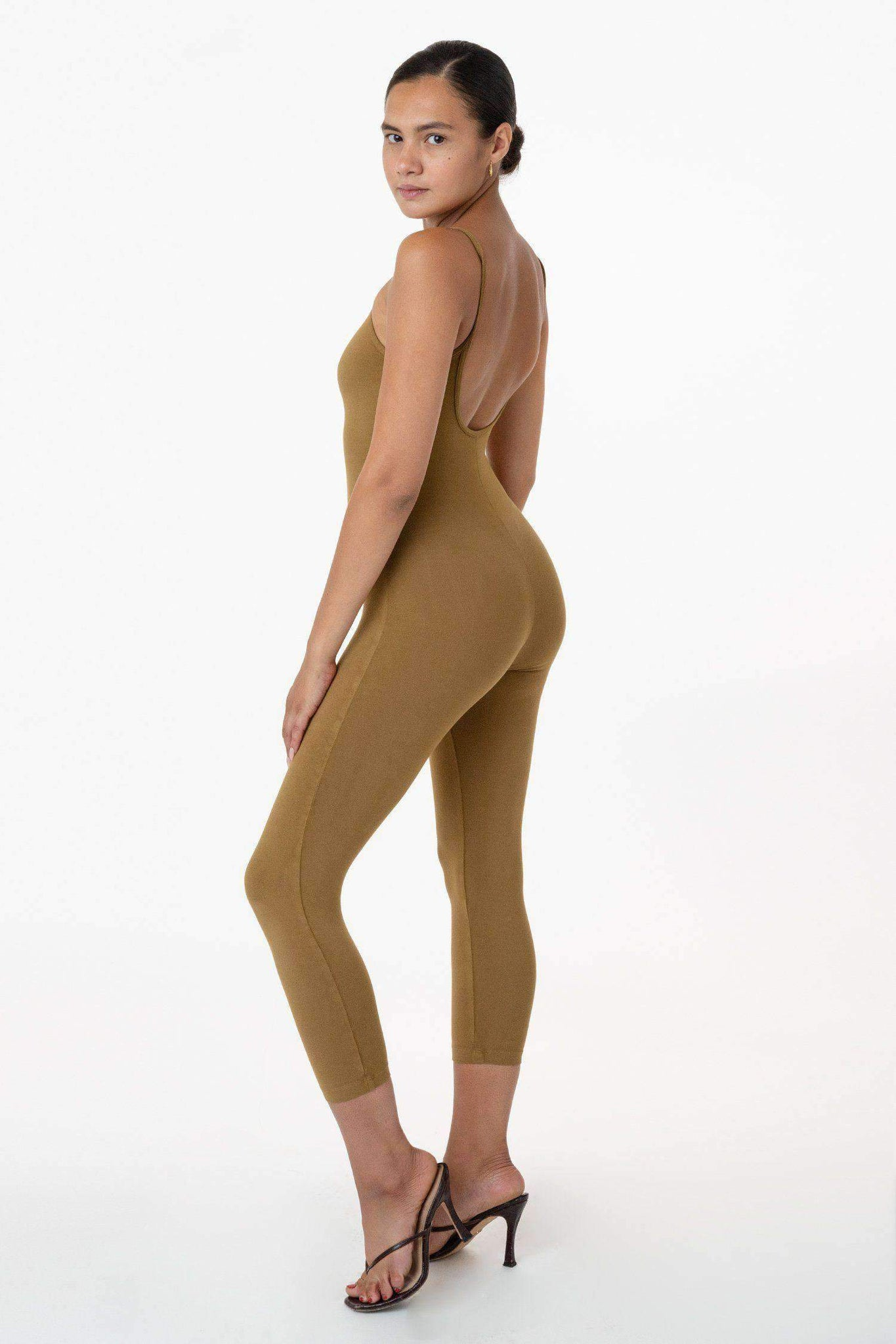83026GD - Garment Dye Cropped Spaghetti Unitard Bodysuits Los Angeles Apparel Brass XS