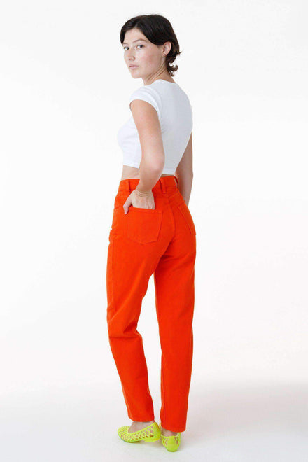 RBDW01GD - Garment Dye Women's Relaxed Fit Bull Denim Jean (Limited Edition) Jeans Los Angeles Apparel Bright Orange 24/28