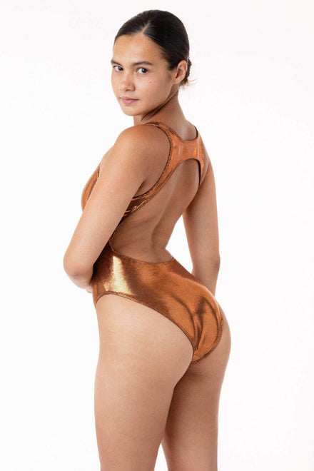 RMH106 - Shiny Matrix Cutout Bathing Suit Swim Los Angeles Apparel Bronze XS