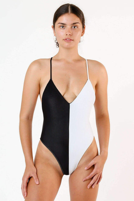 RRS102 - Ribbed Contrast Crossback One Piece Swim Los Angeles Apparel White_Black XS