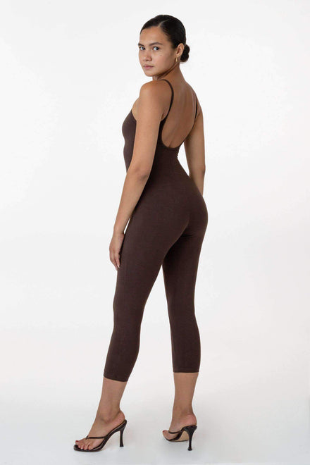 83026GD - Garment Dye Cropped Spaghetti Unitard Bodysuits Los Angeles Apparel Chocolate XS