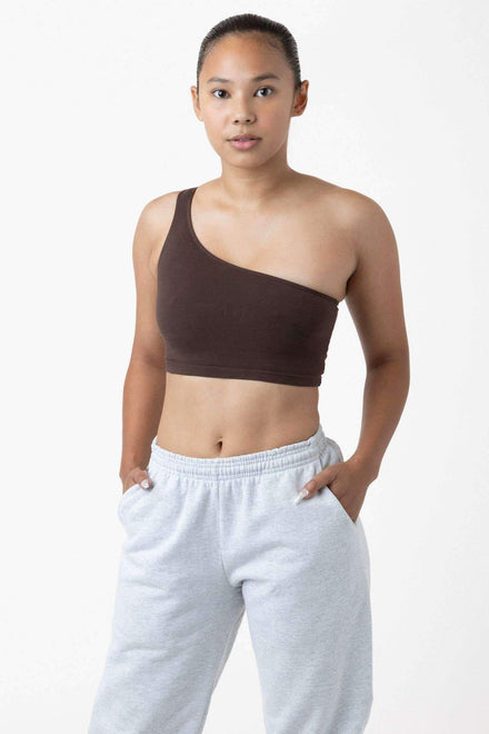 8389GD - Garment Dye One Shoulder Crop Top Bodysuits Los Angeles Apparel Chocolate XS
