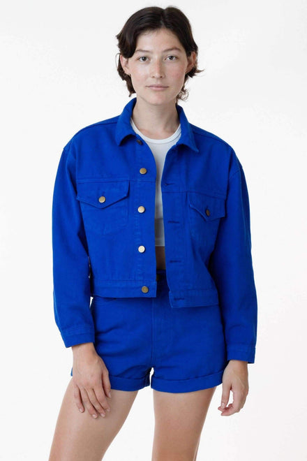 RBDW03GD - Garment Dye Cropped Bull Denim Jacket (Limited Edition) Jacket Los Angeles Apparel Cobalt Blue XS