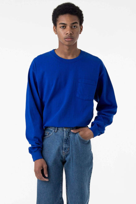 1810GD - Long Sleeve Garment Dye Pocket T-Shirt T-Shirt Los Angeles Apparel Cobalt Blue XS