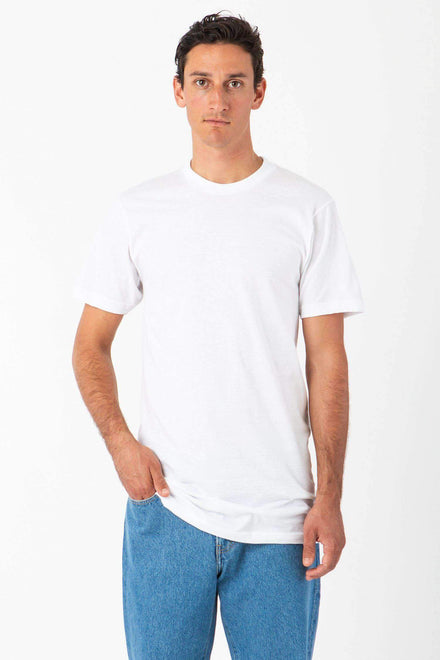 TL20001 - Fine Jersey Crew Neck Tall Tee T-Shirt Los Angeles Apparel White XS