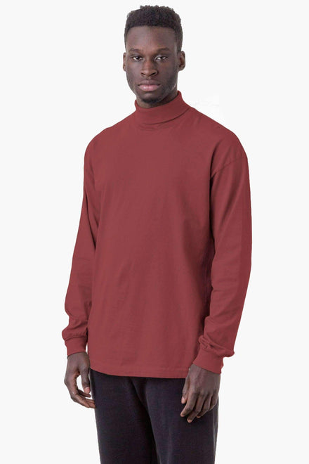1811GD Mix - Long Sleeve Garment Dye Turtleneck T-Shirt Los Angeles Apparel Burnt Orange XS
