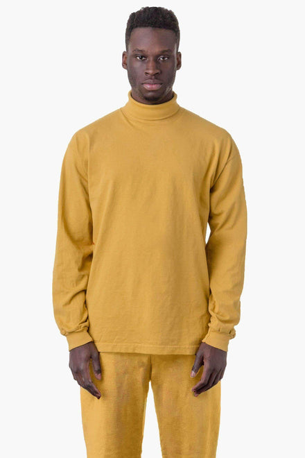 1811GD Unisex - Long Sleeve Garment Dye Turtleneck T-Shirt Los Angeles Apparel Dijon XS