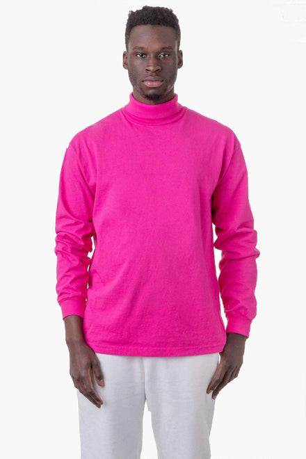1811GD Mix - Long Sleeve Garment Dye Turtleneck T-Shirt Los Angeles Apparel Raspberry XS