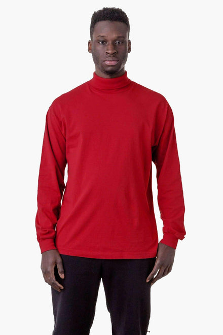 1811GD Unisex - Long Sleeve Garment Dye Turtleneck T-Shirt Los Angeles Apparel Dark Red XS