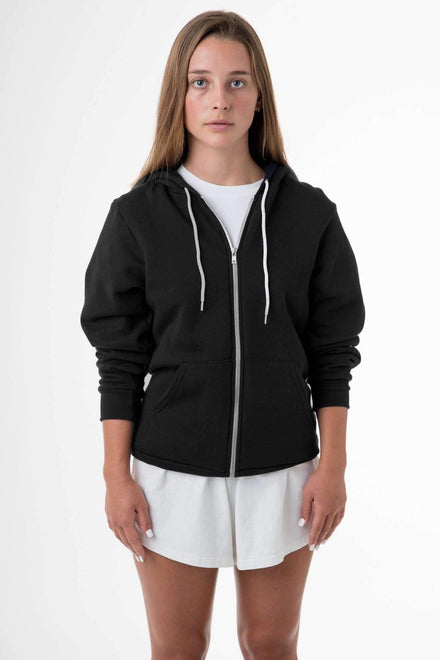 F97 Unisex - Flex Fleece Zip Up Hoodie Sweatshirt Los Angeles Apparel Black XS