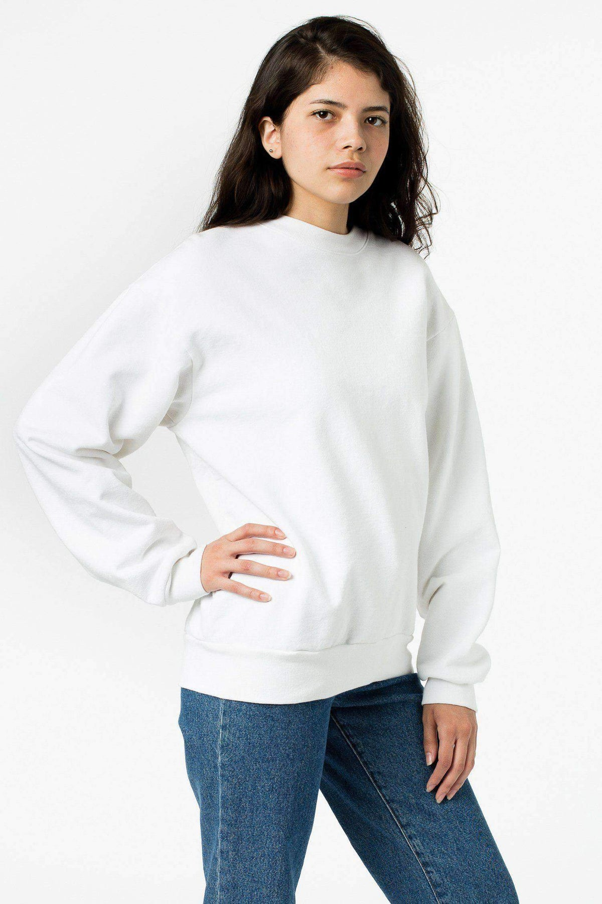 HF07 Mix - 14oz. Heavy Fleece Pullover Crewneck Sweatshirt Sweatshirt Los Angeles Apparel White XS
