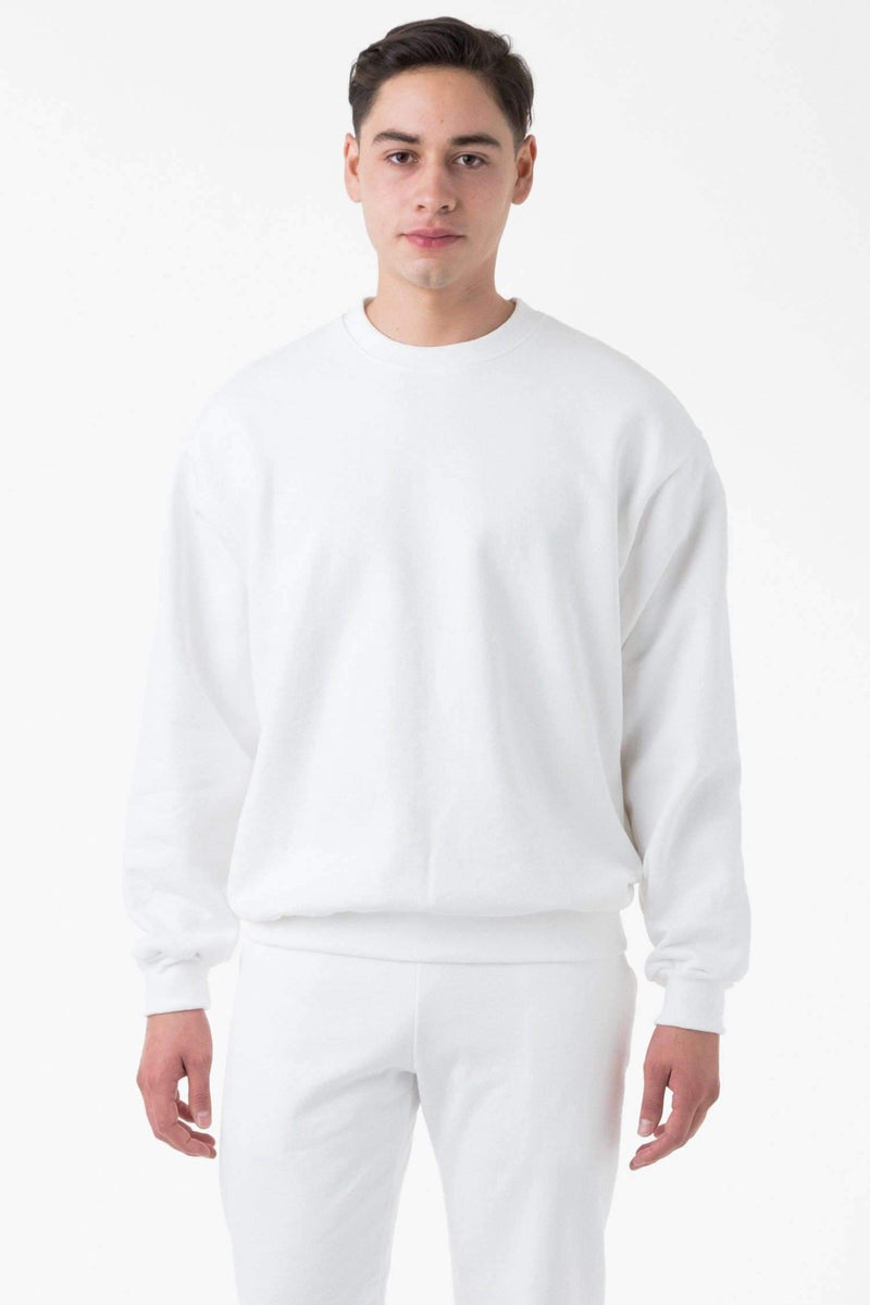 HF07 - 14oz. Heavy Fleece Pullover Crewneck Sweatshirt Sweatshirt Los Angeles Apparel White XS