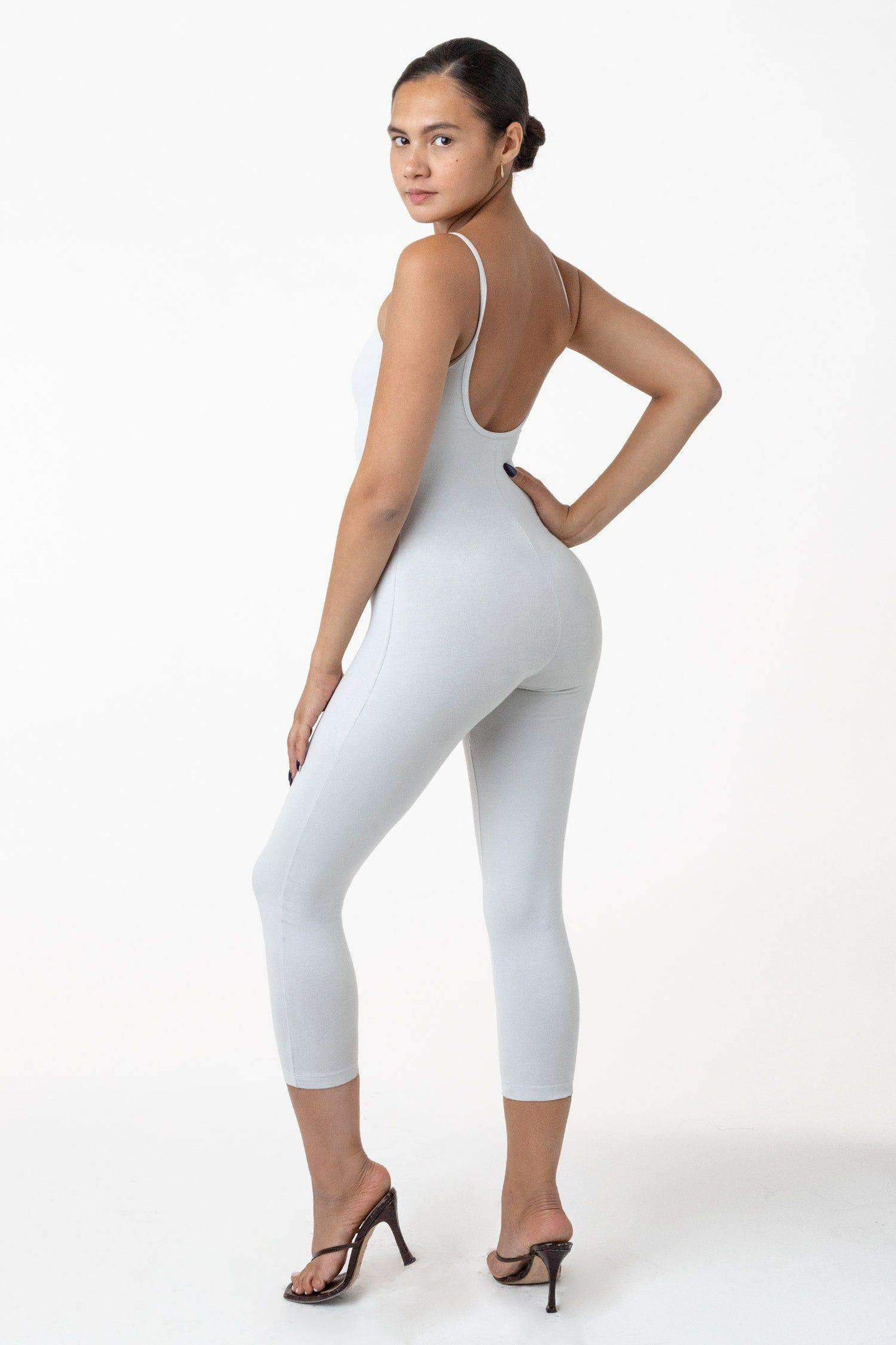 83026GD - Garment Dye Cropped Spaghetti Unitard Bodysuits Los Angeles Apparel Light Grey XS
