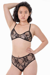 FNS99 - Floral Lace High Waist Panty Los Angeles Apparel Black XS