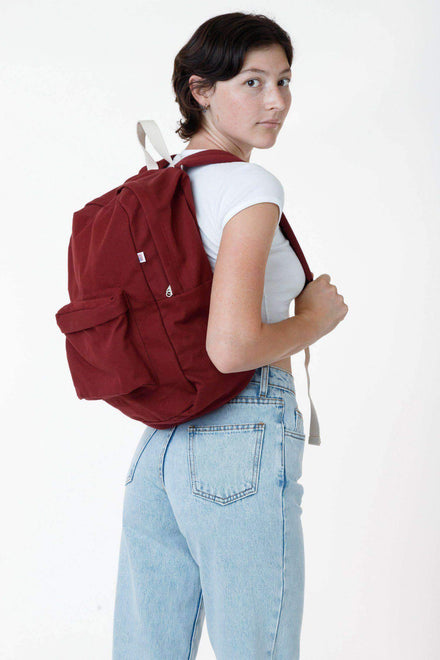 RCC508 - Cotton Canvas Backpack Bags Los Angeles Apparel Maroon OS