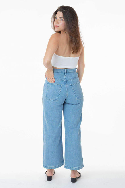 RDNW09 - High Waisted Wide Leg Denim Jean Pants Los Angeles Apparel