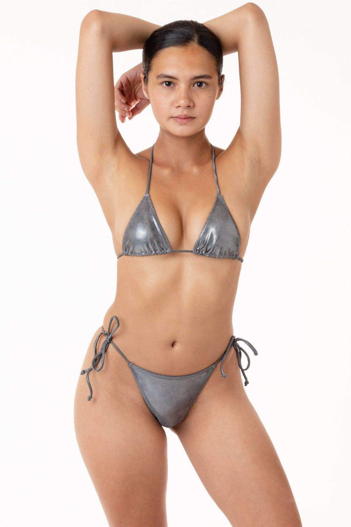 RMH3003 - Shiny Matrix String Bikini Top Swim Los Angeles Apparel Metal XS