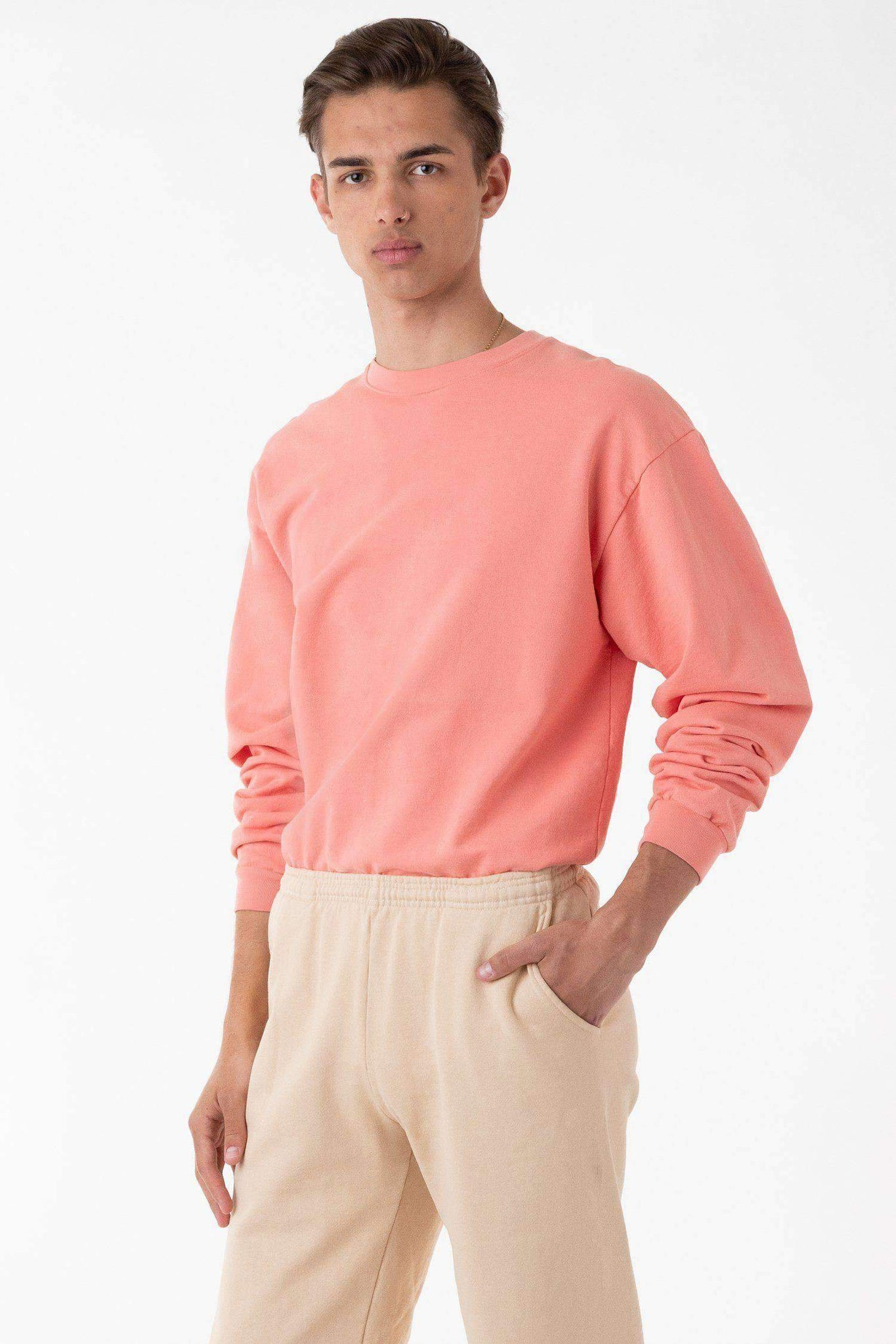 MWT07GD - Long Sleeve Garment Dye French Terry Pullover Sweatshirt Los Angeles Apparel Salmon XS