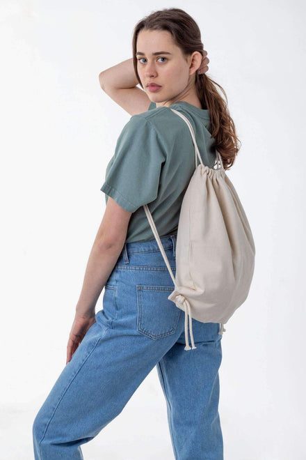 BD09 - Bull Denim Drawstring Backpack Bags Los Angeles Apparel Natural