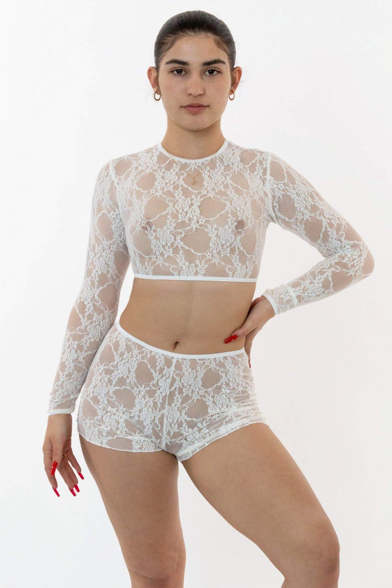 FNS079 - Floral Lace Long Sleeve Crop Top