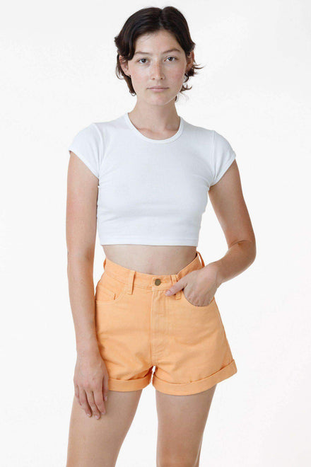 RBDW05GD - Bull Denim Garment Dye Cuff Short (Limited Edition) Shorts Los Angeles Apparel Orange Chiffon 24