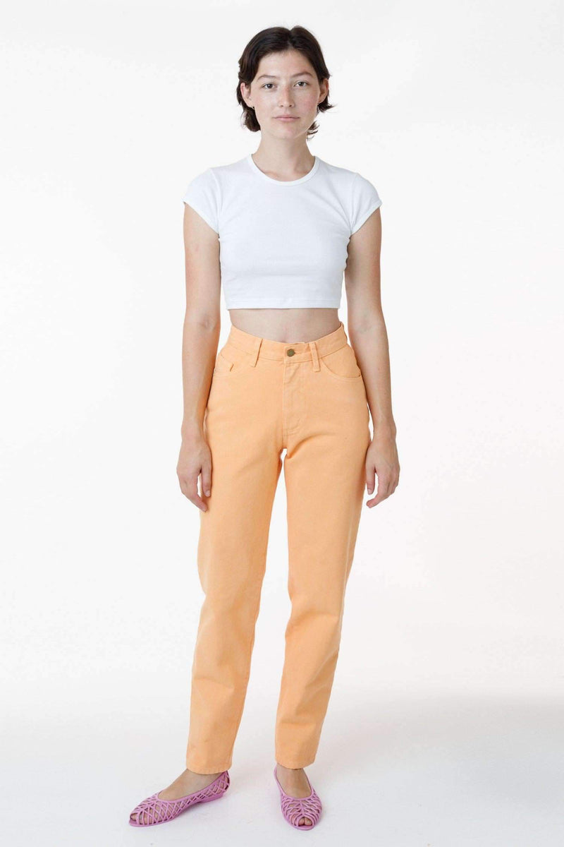 RBDW01GD - Garment Dye Women's Relaxed Fit Bull Denim Jean (Limited Edition) Jeans Los Angeles Apparel Orange Chiffon 24/28