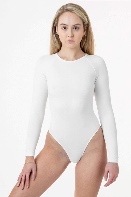 PON124 - Ponte Long Sleeve Raglan Bodysuit Los Angeles Apparel