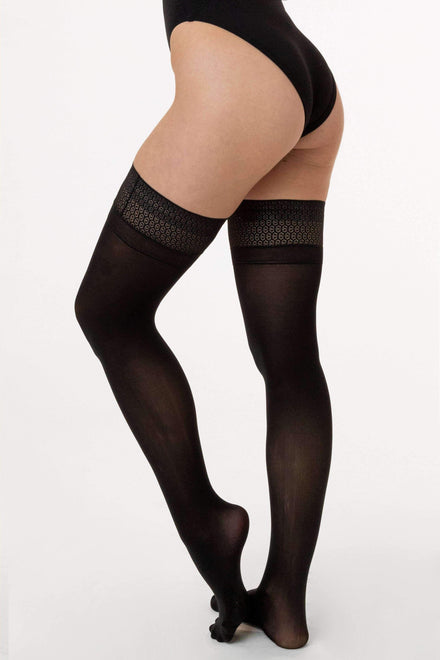 RN400 - Opaque Hold Up with Lace Top hosiery Los Angeles Apparel