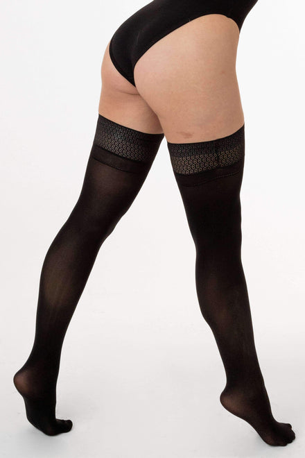 RN400 - Opaque Hold Up with Lace Top hosiery Los Angeles Apparel Black OS
