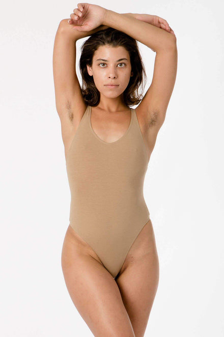 B108CT - Racerback Thong Bodysuit Bodysuits Los Angeles Apparel Hazelnut XS