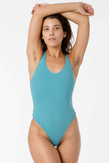 B108CT - Racerback Thong Bodysuit Bodysuits Los Angeles Apparel Peacock XS